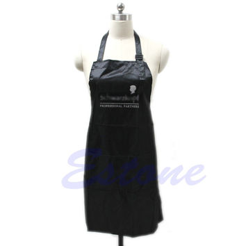 Black Adjustable Apron Bib Uniform With 2 Pockets Hairdresser Kit Salon Hair Tool