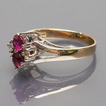 Ruby Diamond Ring Art Deco 14K Gold Vintage Jewelry SALE