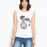 White Perfume Bottle Print Crop Muscle Tee