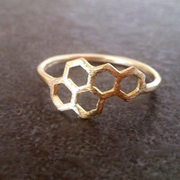 SALE! Gold ring, Honeycomb ring, geometric ring, abstract ring, minimalist ring, minimal boho, Hexagon Beehive Ring