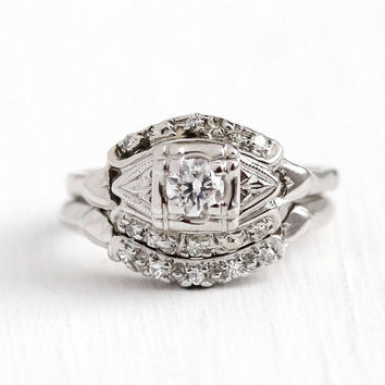 Engagement Ring Set - Vintage 1940s Art Deco 14k White Gold .26 CTW Diamond - Size 5 3/4 Wedding Band Classic Bridal Fine Matching Jewelry