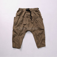 Drop Crotch Vintage Washed Cotton Buckle Crop Pants
