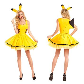 Halloween  Pikachu Cosplay Animal Angel Costume Elf Clothing Stage Show Skirt Adult Short Dress Ear PartyKawaii Pokemon go  AT_89_9