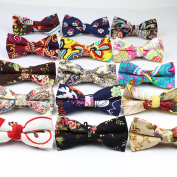 Men's Cool Linen Printed Flower Rose Bow Ties Man Neck Bowtie Cashew Nut Bowknot Gravatas Necktie Summer Butterfly