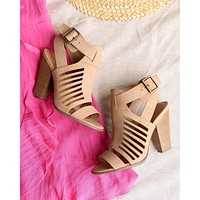 yummy and delicious cutout stacked heel sandal in natural nubuck