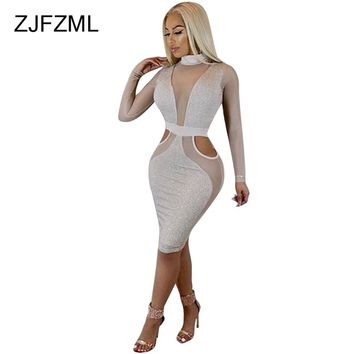 ZJFZML Women Mesh Dress Sexy See Through Patchwork Bodycon Party Dress Long Sleeve Turthneck Hollow Out Midi Night Club Dress