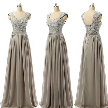 Bridesmaid Dress Grey Color Wide Strap Sequin beaded Lace Applique Sweetheart Neck Lace Up Back Floor Length Bridesmaid Gown
