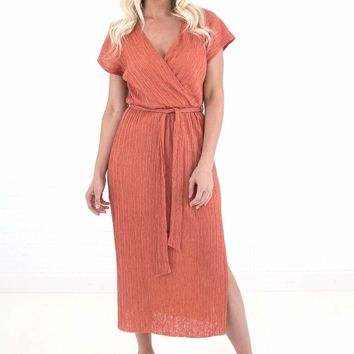 Women's V-Neck Pleated Midi Dress with Wrap Front