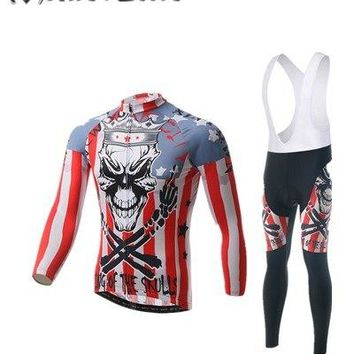 XINTOWN 2016 Skull Man cheap authentic sports ropa ciclismo Cycling Jersey sets  Bike Long motocross jersey and pants