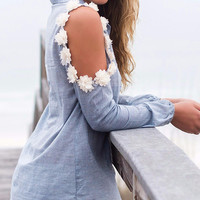 We Found Wonderland Long Sleeve Open Shoulder Flower Denim Top