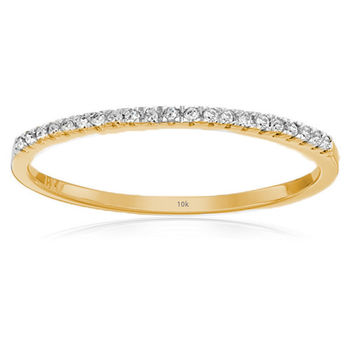 0.08 Carat (ctw) 10k Gold Round White Diamond Ladies Dainty Anniversary Wedding Band Stackable Ring