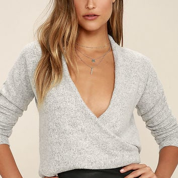 In Her Eyes Heather Grey Wrap Sweater