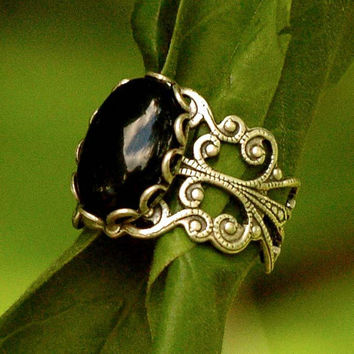 $17.50 Filigree Ring  Black Onyx Stone in Silver 14x10mm by ragtrader