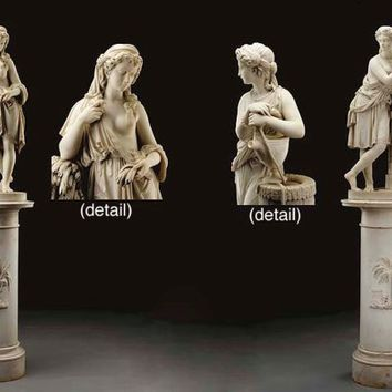 A pair of fine Italian marble figures of Ruth and Rebecca, on pedestals , BY ARISTIDE FONTANA, CARRARA, CIRCA 1860-70