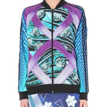 ESBON Adidas Originals X Mary Katrantzou Printed Jersey Bomber Jacket Sweatshirt