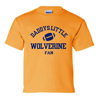 Daddys Little Wolverine Fan Toddler And Youth T-Shirt Michigan Fans Printed Tee for Kids Creepers & T-Shirts. Makes a Great Gift!!