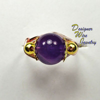 DWJ0185 Gorgeous Amethyst Rose Gold Wire Wrapped Ring All Sizes