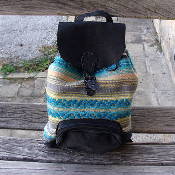 Unique leather backpack with handwoven wool fabric, black suede leather backpack, school backpack, holiday backpack, handmade backpack