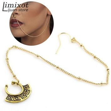 Fashion Women Nose Rings and Studs Fake Piercing Summer Style Nose Hoop Fake Nose Rings&Studs Ear Chain Women Body Jewelry