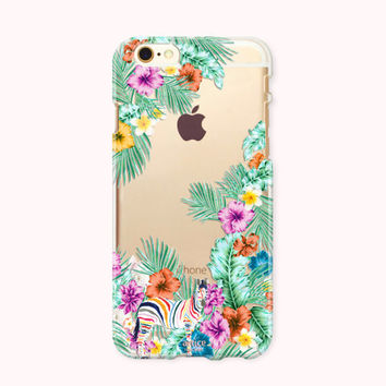 Clear iPhone 6 case, iPhone 6s case, iPhone 6 plus case, iPhone 6s plus case, iPhone 5S Case, iPhone SE Case, Galaxy Case - Tropical Fantasy