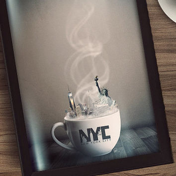 Drink It In - New York City - 11x17 - Large Framed Coffee House Art Unique Home Decor - Large Framed Art - Hipster Coffee Art - NYC Art
