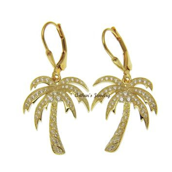 YELLOW GOLD PLATED SILVER 925 BLING CZ HAWAIIAN PALM TREE LEVERBACK EARRINGS