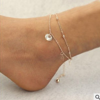Beach Anklets multilayer hollow Crystal Ankle Bracelet