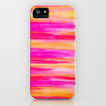 Welcome to Funky Town - Disco Inferno Dance Party Bold Rainbow Stripes Abstract Watercolor Painting iPhone Case by EbiEmporium   Society6