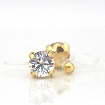 Special Offer! Popular in Japan ! 2 ways Invisible Clip On Earrings! Gold Swarovski Crystal Stud Clip on Earrings, Silver Clip-On Earrings