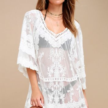 Lace-y Days White Crochet Cover-Up