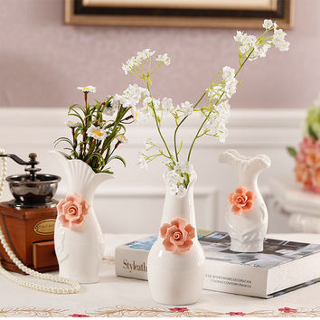 Creative Chinese Three - dimensional Flowers Vase Ornaments Plant Pot Craft Home Office Decor