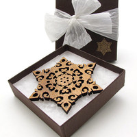 Laser Cut Wood Holiday Snowflake Ornament made from Sustainable Harvest Wisconsin Wood . Timber Green Woods