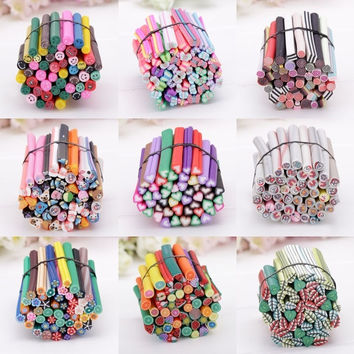 50pcs 3D Nail Art Fimo Canes Stick Rods Polymer Clay Stickers Tips Decoration 7_S