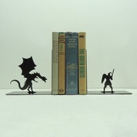 Dragon & Knight Bookends | knobcreekmetalarts - Metal Craft on ArtFire