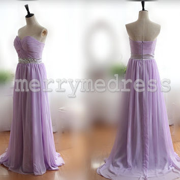 Beads Lilac Ruffled Sweetheart Strapless Long Bridesmaid Dress, Floor length Chiffon Formal Evening Party Prom Dress New Homecoming Dress