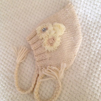 Knitted Baby Hat Vintage Style Flowers Rhinestones