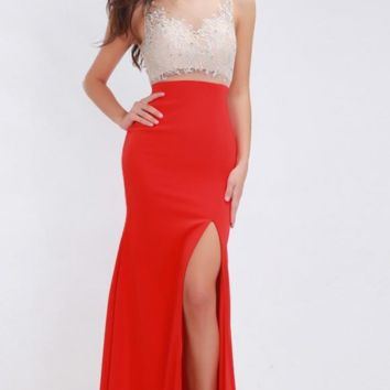 Formal Red Evening Dresses Long Elegant O-neck Sleeveless Sexy Backless Embroidery High Split Prom Dresses Gowns for Women