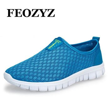 FEOZYZ 2017Summer Air Mesh Breathable Men Running Shoes Ultra Light Daily Walking Shoes Jogging Shoes Mens Sneakers Size 39-44