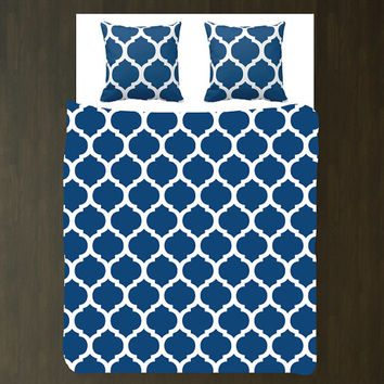 Quatrefoil Duvet Bedding Set with Euro Shams-Monaco Blue and White OR Customize with ANY COLORS-Twin, Full/Queen, King-Custom Colors