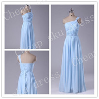 New Style A-line One-shoulder Ruffle Chiffon Sexy Lace-up Long Bridesmaid Dress Party Dress Evening Dress Prom Dress Formal Dress 2014