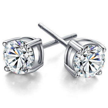 6mm Four Claw Stud Crystal Zirconia Earrings in 4 colors
