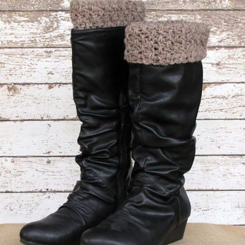 Taupe Crocheted Boot Cuff, Wool Blend Boot Topper