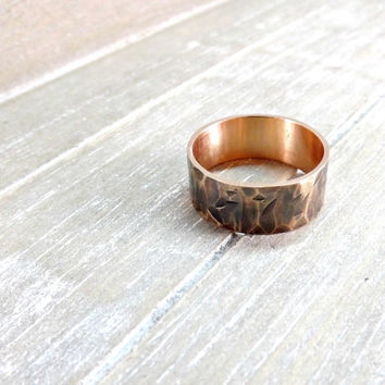 wide bronze ring hammered ring band 8mm wide ring band wedding ring mens ring