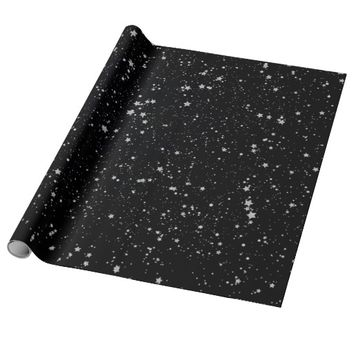 Glitter Stars2 - Silver Black Wrapping Paper