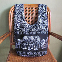 Boho Black Elephant and Flower Line Print Hippie Crossbody Bag PG60