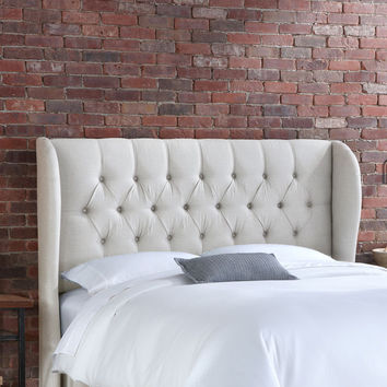 Skyline Furniture Tufted Wingback Linen Headboard