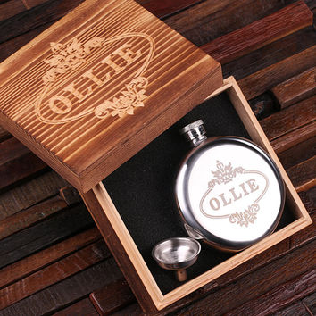 Personalized 5 oz Stainless Steel Round Circle Metal Whiskey Scotch Flask Unique Men Christmas, Groomsmen, Man Cave, 21st Birthday Gift