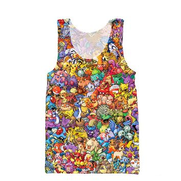 2017 Fashion Men Tank Tops Funny Cartoon Printed  vest Cartoon Pikachu harajuku Casual Men's vest  Kawaii Pokemon go  AT_89_9