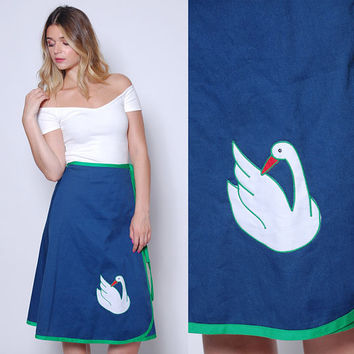Vintage 70s NOVELTY Wrap Skirt SWAN Skirt Blue Cotton BIRD Print Skirt