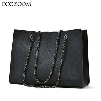 Fashion Woman Large Quilted Chain Shoulder Bag Ladies Luxury PU Leather Handbag Plaid Casual Tote Female Crossbody Messenger Bag